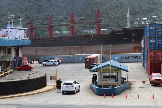 The North Korean cargo ship, Wise Honest, sits at the main docking section at Port of Pago Pago on Saturday. It was seized by the U.S. because of suspicion it was used to violate international sanctions.
