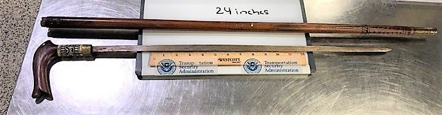 The TSA found a 24-inch sword cane at LaGuardia Airport.
