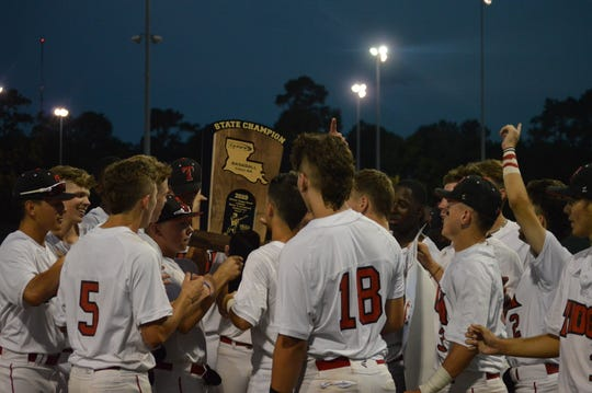 Tioga wins its first baseball title since 1987 after rallying back in the seventh inning to defeat Breaux Bridge, 4-3, in the Class 4A championship game Tuesday.