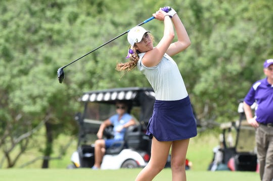 Wylie's Maddi Olson competes during the second round of the Class 5A state tournament May 14 at White Wing Golf Club in Georgetown. Olson won the individual state title, and the Lady Bulldogs finished in a tie for sixth.