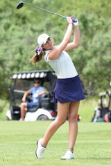 Wylie's Maddi Olson competes during the second round of the 2019 Class 5A state tournament at the White Wing Golf Club in Georgetown. Olson was left without the opportunity to claim her fourth individual state medal and defend her 5A title as the UIL canceled all spring sport championships due to the coronavirus pandemic.