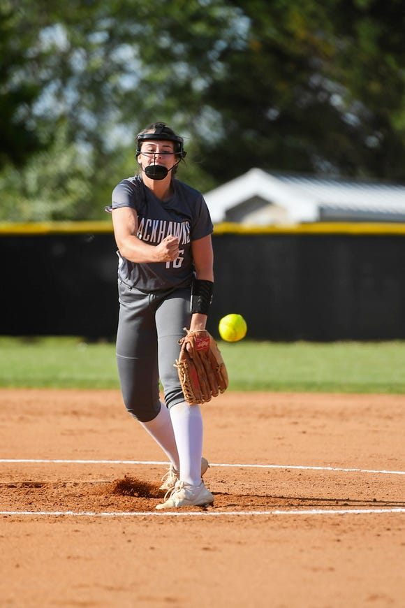 North Buncombe's Caitlin Griffin pitches in the third round playoff game against Jesse Carson May 14, 2019 in Weaverville. North Bumcombe won, 4-0.