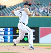 Detroit Tigers Ryan Carpenter pitches against the Houston Astros during first inning action Tuesday, May 14, 2019 at Comerica Park in Detroit, Mich.