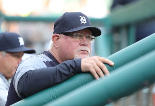 Detroit Tigers manager Ron Gardenhire in the dugout during action against the Houston Astros Tuesday, May 14, 2019 at Comerica Park in Detroit, Mich.