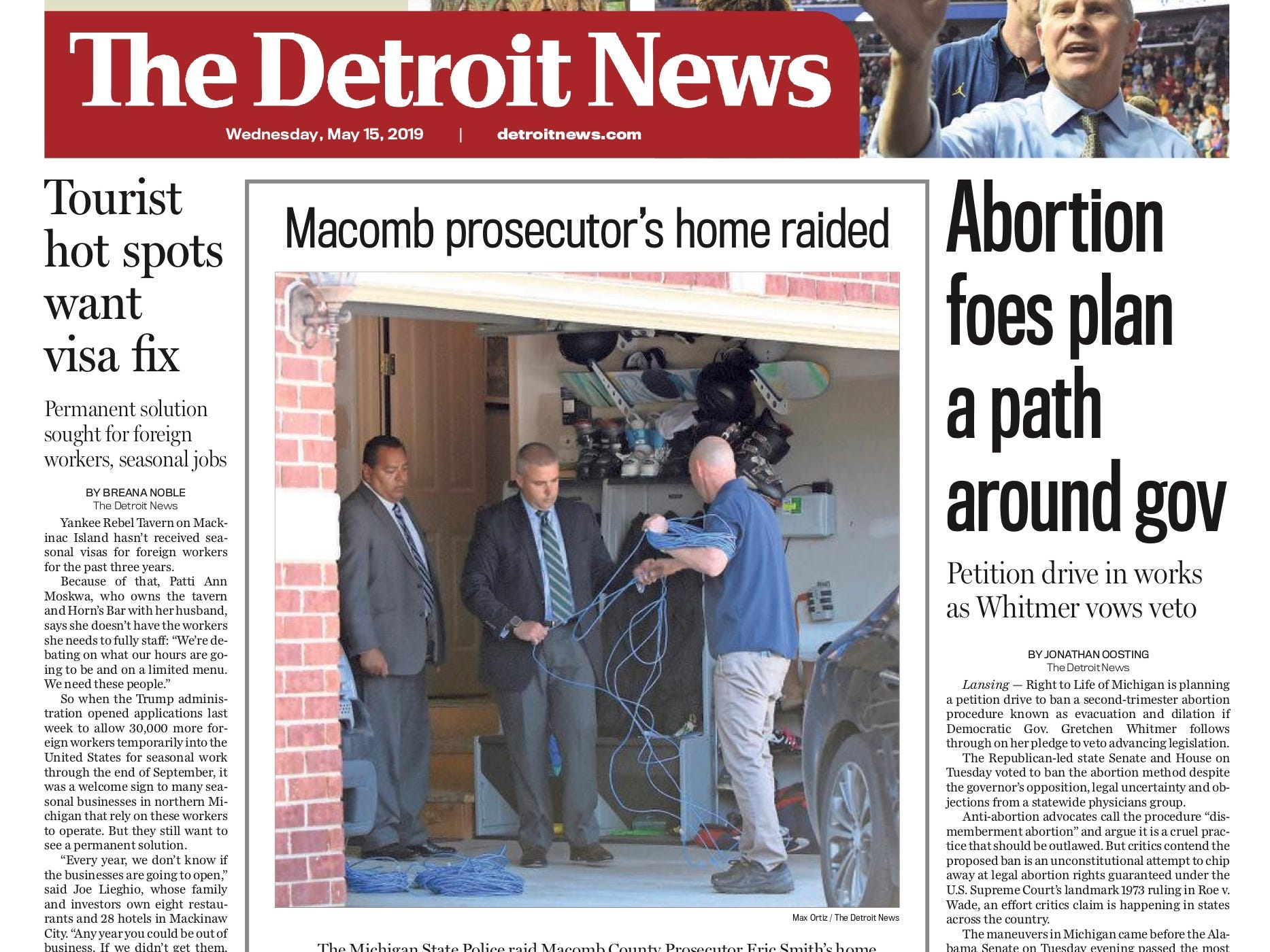 The front page of the Detroit News on May 15, 2019.