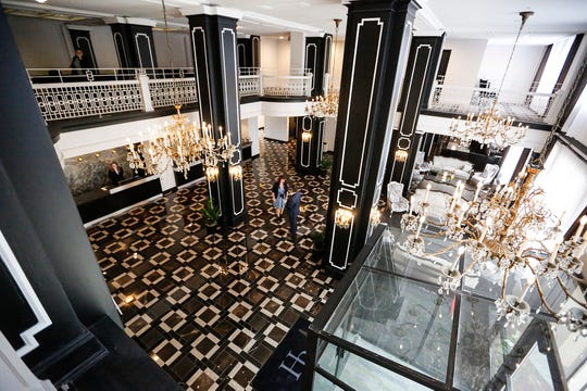 The lobby of the renovated Hotel Retlaw Tuesday, May 14, 2019, the day of the grand re-opening of the hotel in downtown Fond du Lac, Wis. Doug Raflik/USA TODAY NETWORK-Wisconsin