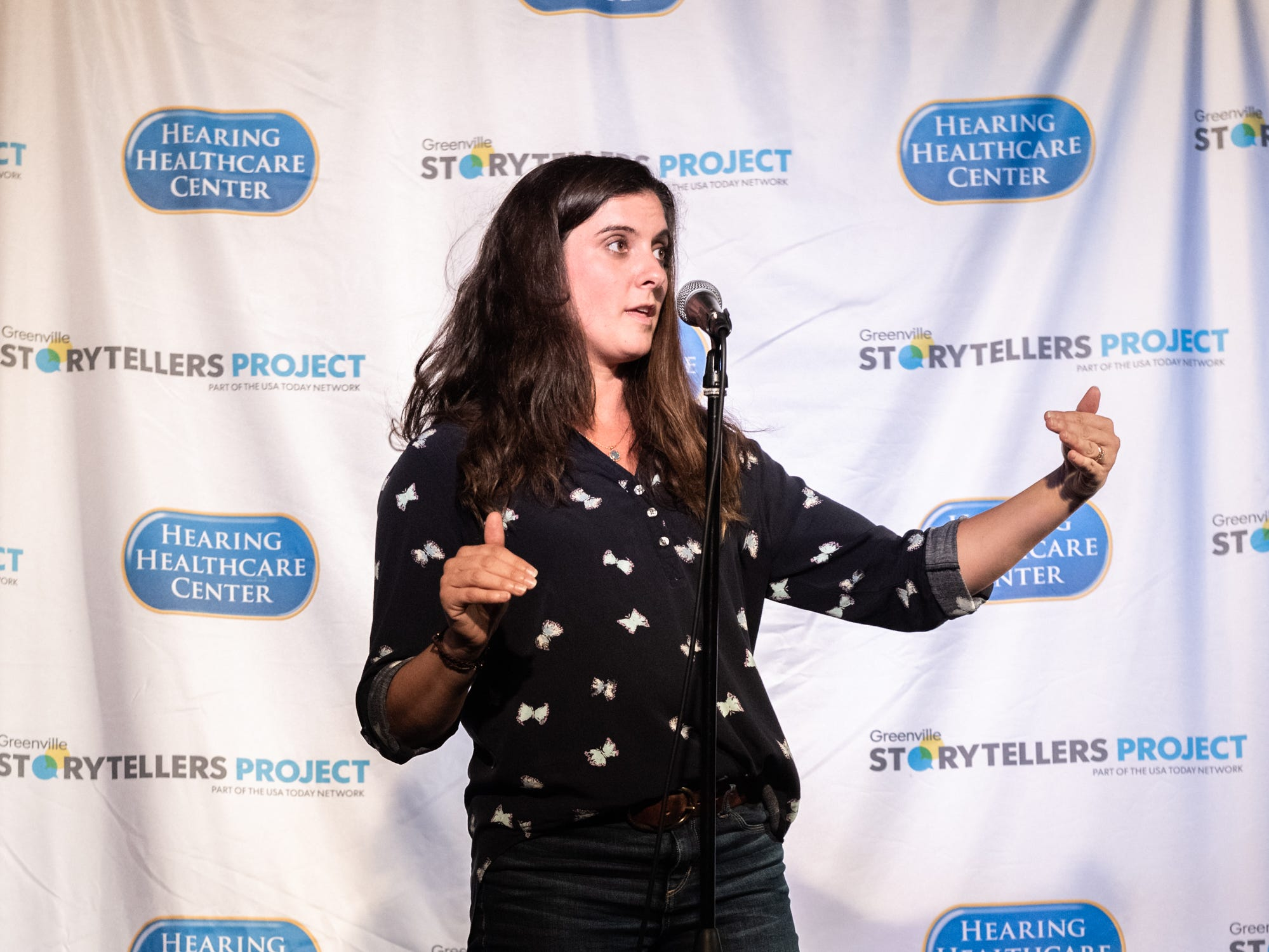 Whitney Poitevint, a real estate agent, at the Greenville Storytellers Project event at the Comedy Zone Tuesday, May 14, 2019.
