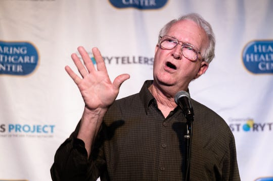 John Haines, a Clemson professor, at the Greenville Storytellers Project event at the Comedy Zone Tuesday, May 14, 2019.