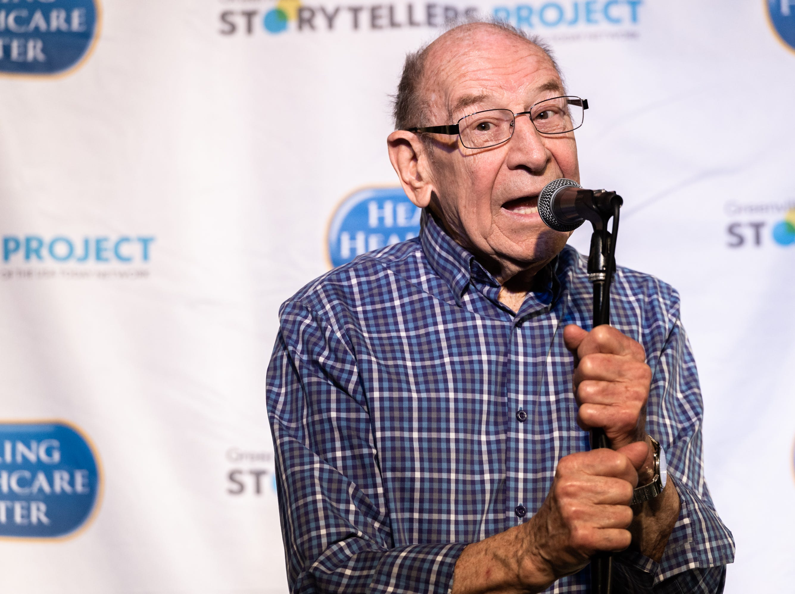 Dale Bruhn at the Greenville Storytellers Project event at the Comedy Zone Tuesday, May 14, 2019.