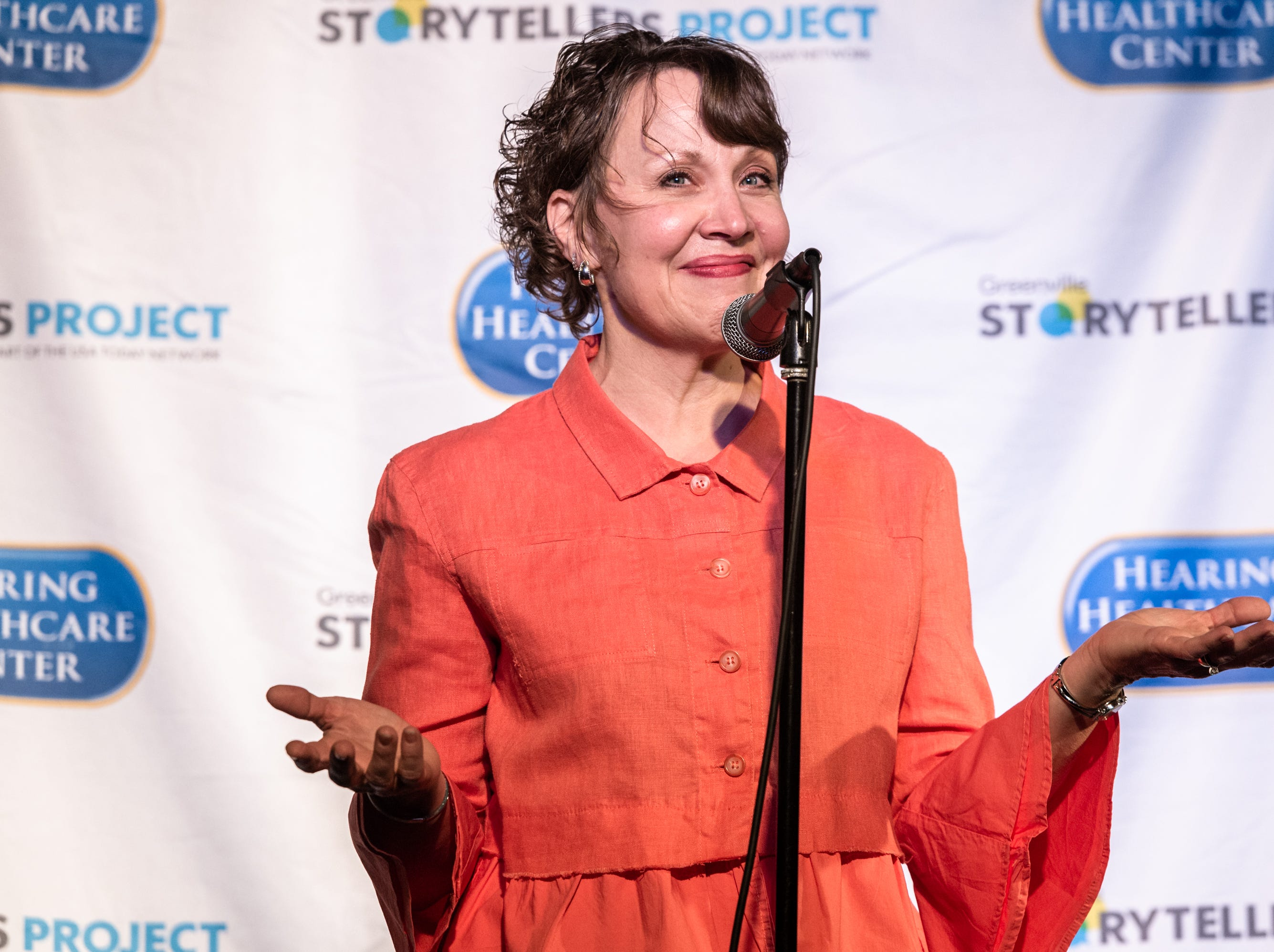 Janiece Robinson, a public speaking and etiquette specialist, at the Greenville Storytellers Project event at the Comedy Zone Tuesday, May 14, 2019.