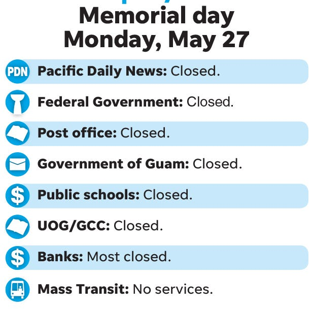 What you need to know for Memorial Day, Monday, May 27