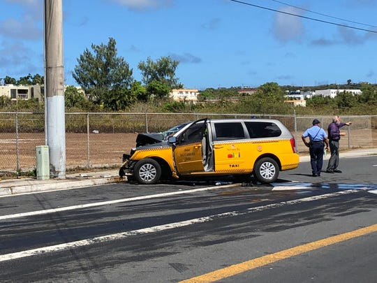 A taxi ran off the road and medics rushed a man to the hospital on Wednesday, May 15, 2019.