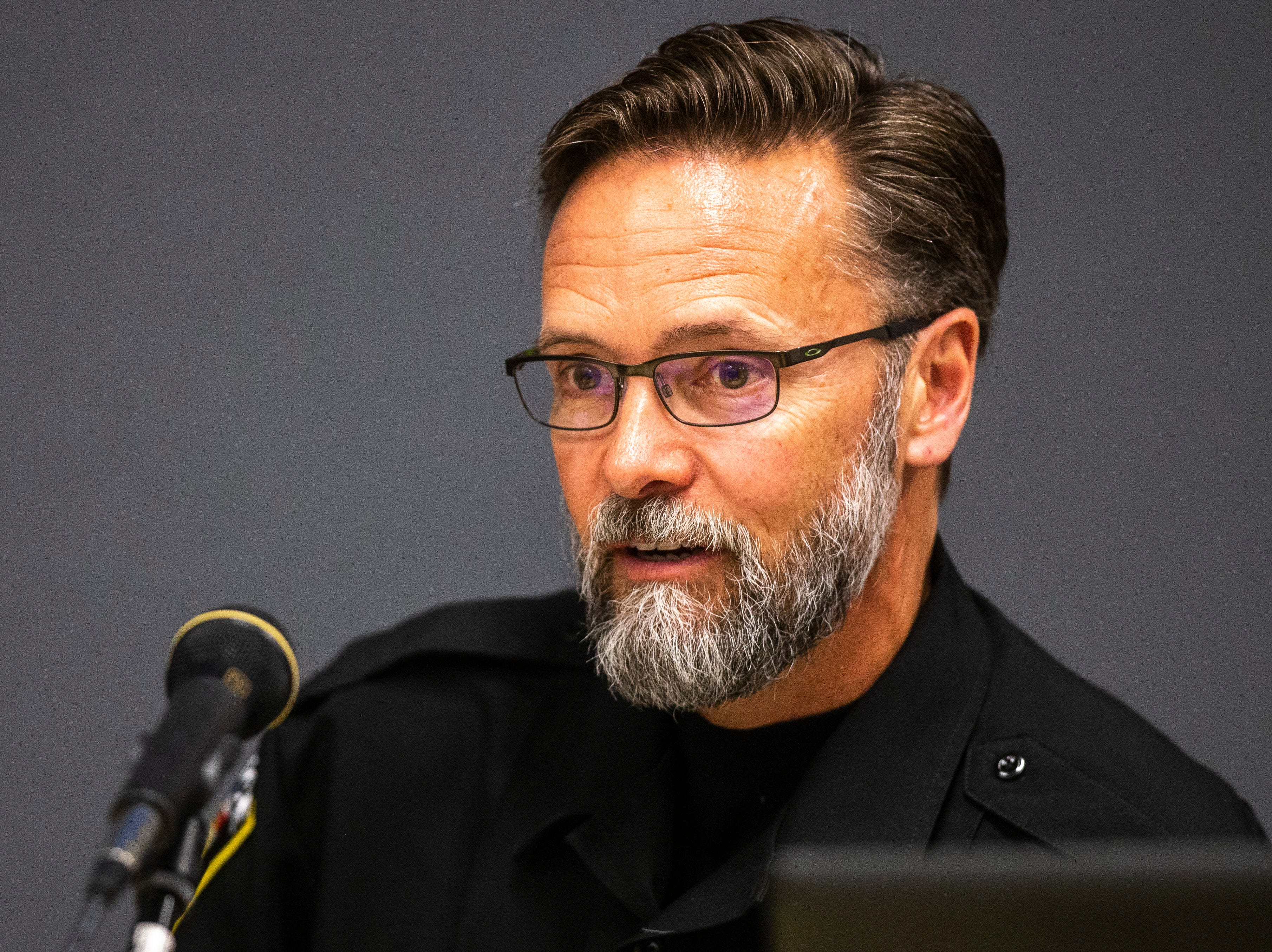 University Heights Police Chief Troy Kelsay speaks, Tuesday, May 14, 2019, at City Hall in University Heights, Iowa.