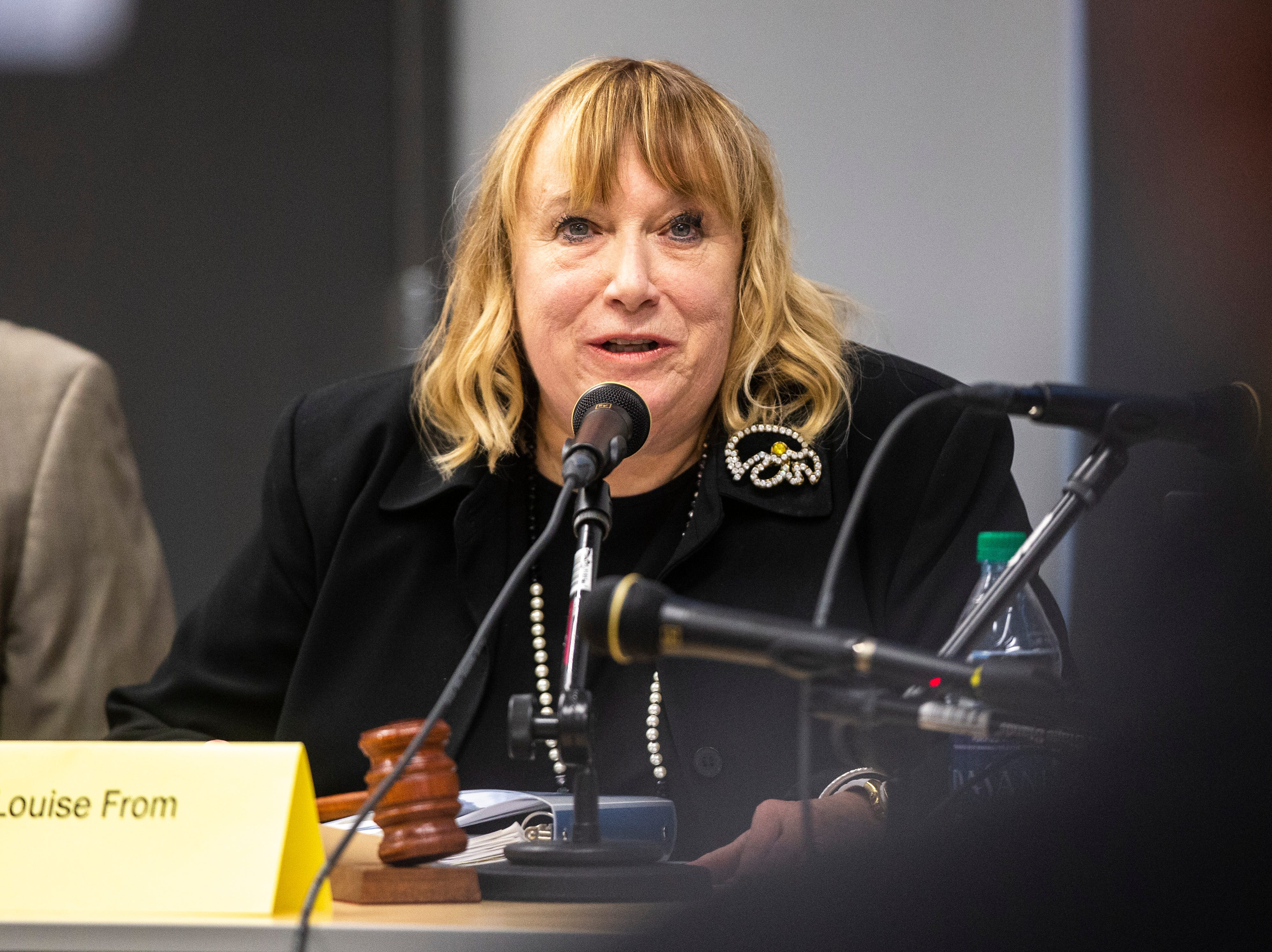 University Heights Mayor Louise From speaks, Tuesday, May 14, 2019, at City Hall in University Heights, Iowa.
