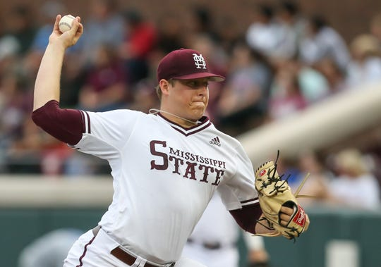 Mississippi State's Keegan James (18) releases a pitch in the first inning. Mississippi State played Memphis in a college baseball game on Wednesday, May 8, 2019. Photo by Keith Warren