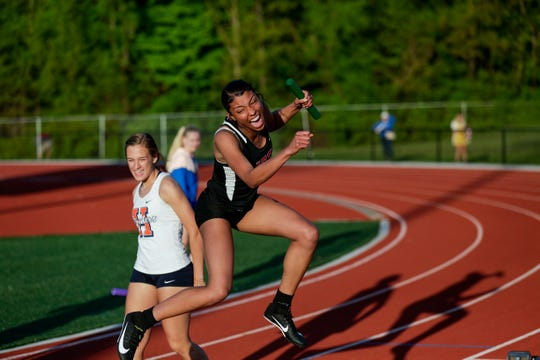 Lafayette Jeff's Mykah Killebrew celebrates after competing in the girls 4x100 meter relay during the Harrison Girls Track Sectional, Tuesday, May 14, 2019, in West Lafayette.