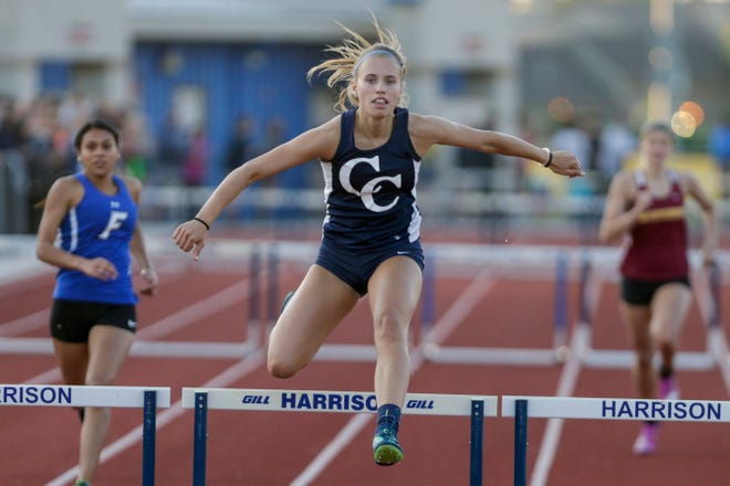 Central Catholic's Kayla Brady competes in the girls 300 meter hurdles during the Harrison Girls Track Sectional, Tuesday, May 14, 2019, in West Lafayette.