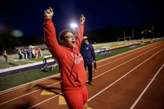 West Lafayette's Ashley Weatherly celebrates after the Harrison Girls Track Sectional, Tuesday, May 14, 2019, in West Lafayette.