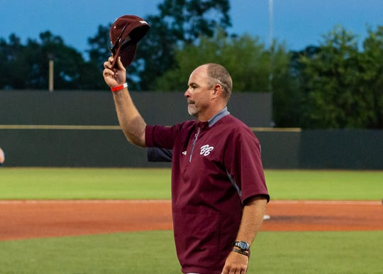 Herad Coach Kyle Cormier tips his hat to Tioga Coach David Montiel as Breaux Bridge falls to Tioga High School in the LHSAA Class 4A Championship Game. Tuesday, May 14, 2019.