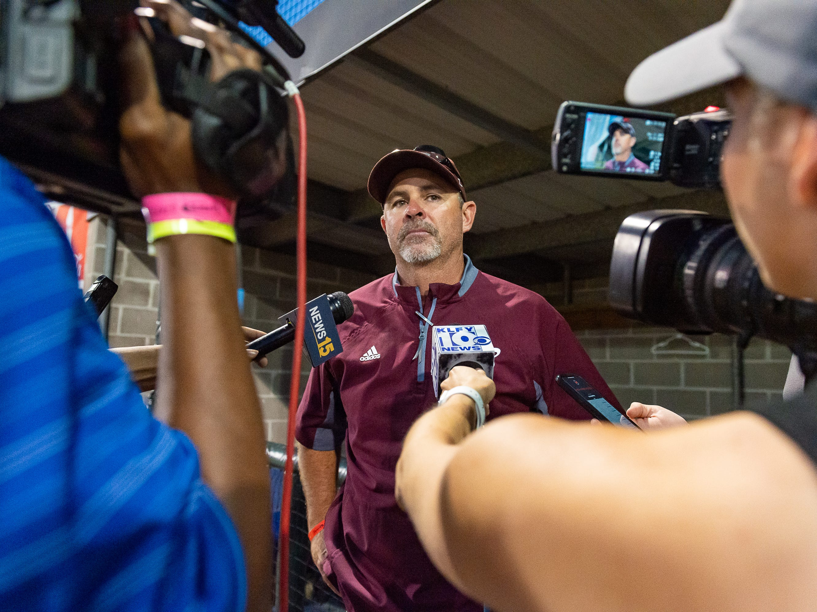 Herad Coach Kyle Cormier talks with media as Breaux Bridge falls to Tioga High School in the LHSAA Class 4A Championship Game. Tuesday, May 14, 2019.