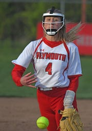 Plymouth's Mallory Miller pitches Tuesday evening during a game with Lucas at Shelby High School.