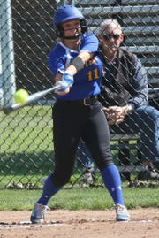 Ontario senior Emilee Cochran recorded one of the Lady Warriors' two hits on Tuesday night in a loss to Bellevue in the Division II district semifinals.