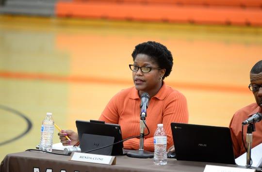 Renda Cline , Mansfield School Board president, speaks at a meeting held on May 14, 2019.