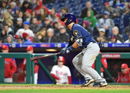May 14, 2019; Philadelphia, PA, USA; Milwaukee Brewers second baseman Keston Hiura (18) singles during the eighth inning against the Philadelphia Phillies at Citizens Bank Park. Mandatory Credit: Eric Hartline-USA TODAY Sports