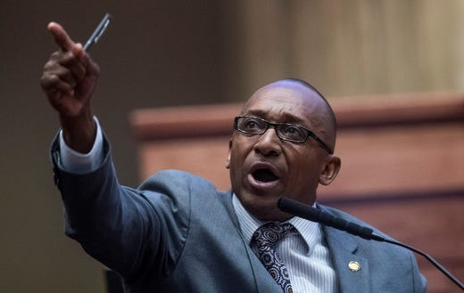 Sen. Bobby Singleton speaks as debate on HB314, the near-total ban on abortion bill, is held in the senate chamber in the Alabama Statehouse in Montgomery, Ala., on Tuesday May 14, 2019.