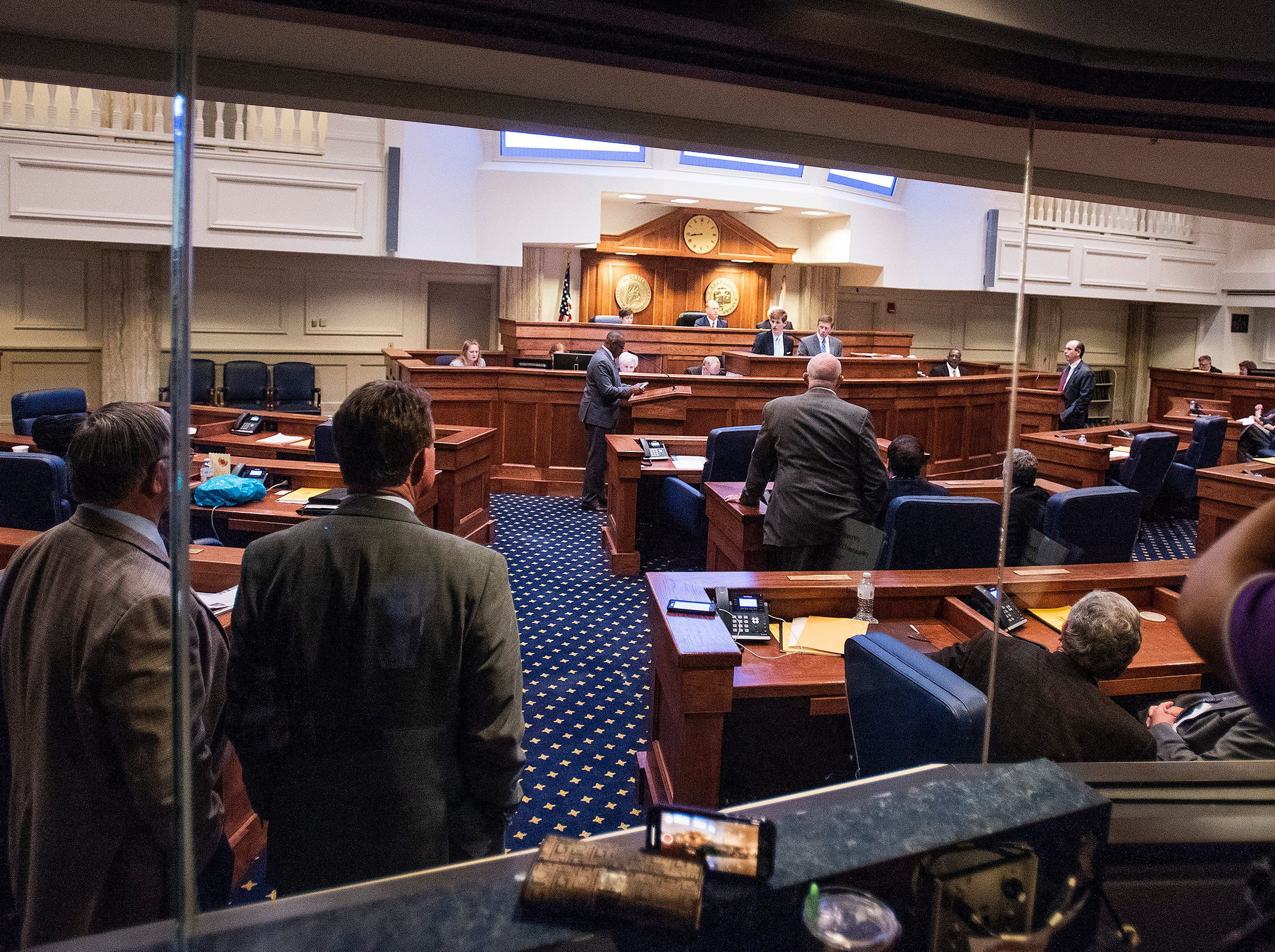 Debate on HB314, the near-total ban on abortion bill, is held in the senate chamber in the Alabama Statehouse in Montgomery, Ala., on Tuesday May 14, 2019.