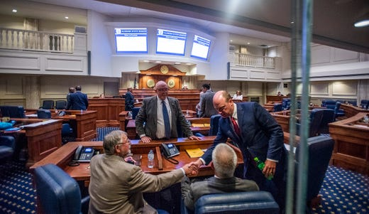 Lt. Governor Will Ainsworth greets Senators during debate on HB314, the near-total ban on abortion bill, in the senate chamber in the Alabama Statehouse in Montgomery, Ala., on Tuesday May 14, 2019.