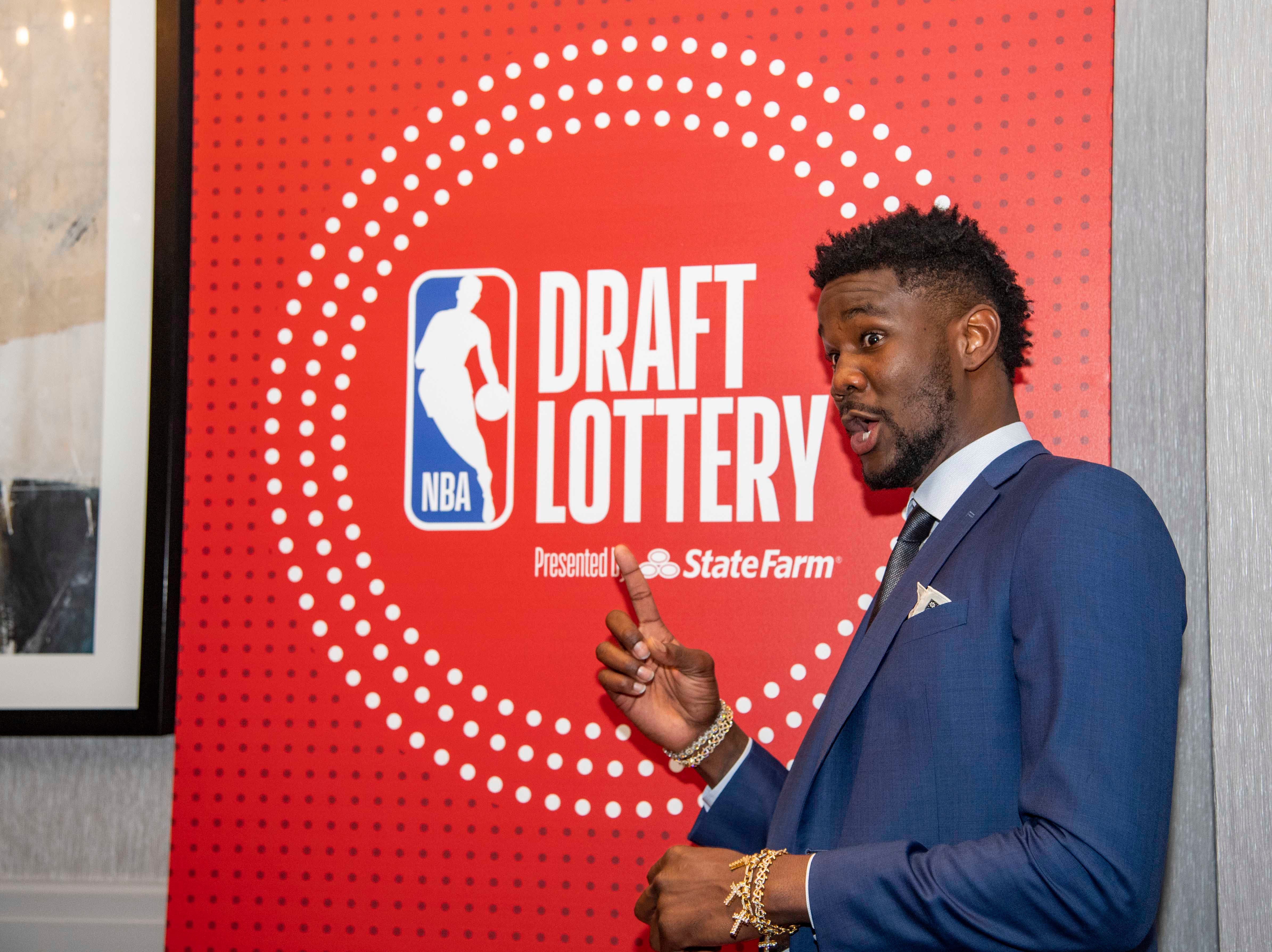 May 14, 2019; Chicago, IL, USA; Phoenix Suns player DeAndre Ayton is seen prior to the 2019 NBA Draft Lottery at the Hilton Chicago. Mandatory Credit: Patrick Gorski-USA TODAY Sports