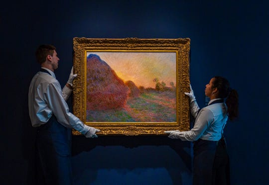 "This undated photo provided by Sotheby's shows Claude Monet's painting titled ""Meules."" The painting, one of Monet's iconic paintings of haystacks, has fetched a record $110.7 million at an auction in New York. The 1890 painting sold at Sotheby's sale of Impressionist & Modern Art Tuesday night, May 14, 2019."