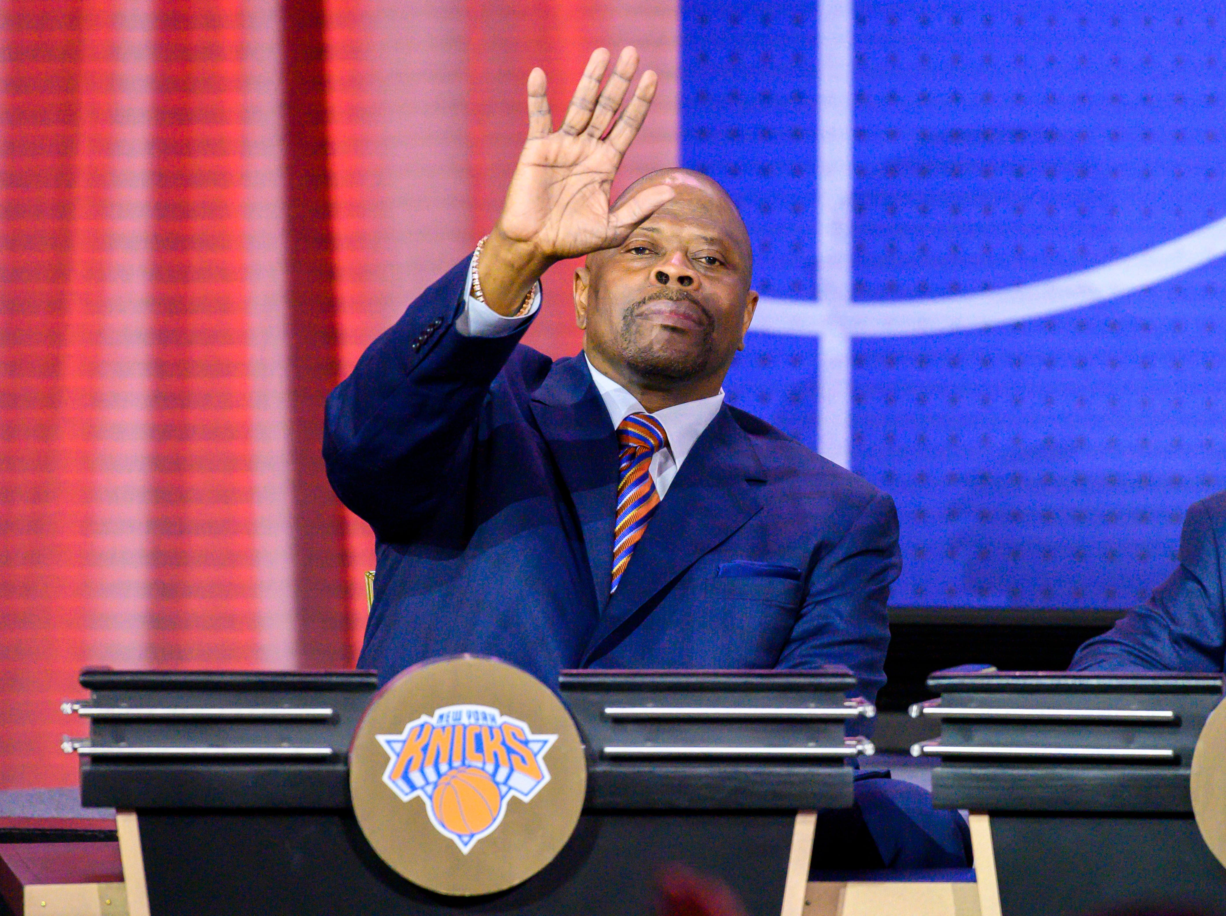 May 14, 2019; Chicago, IL, USA; New York Knicks former player Patrick Ewing waves during the 2019 NBA Draft Lottery at the Hilton Chicago. Mandatory Credit: Patrick Gorski-USA TODAY Sports