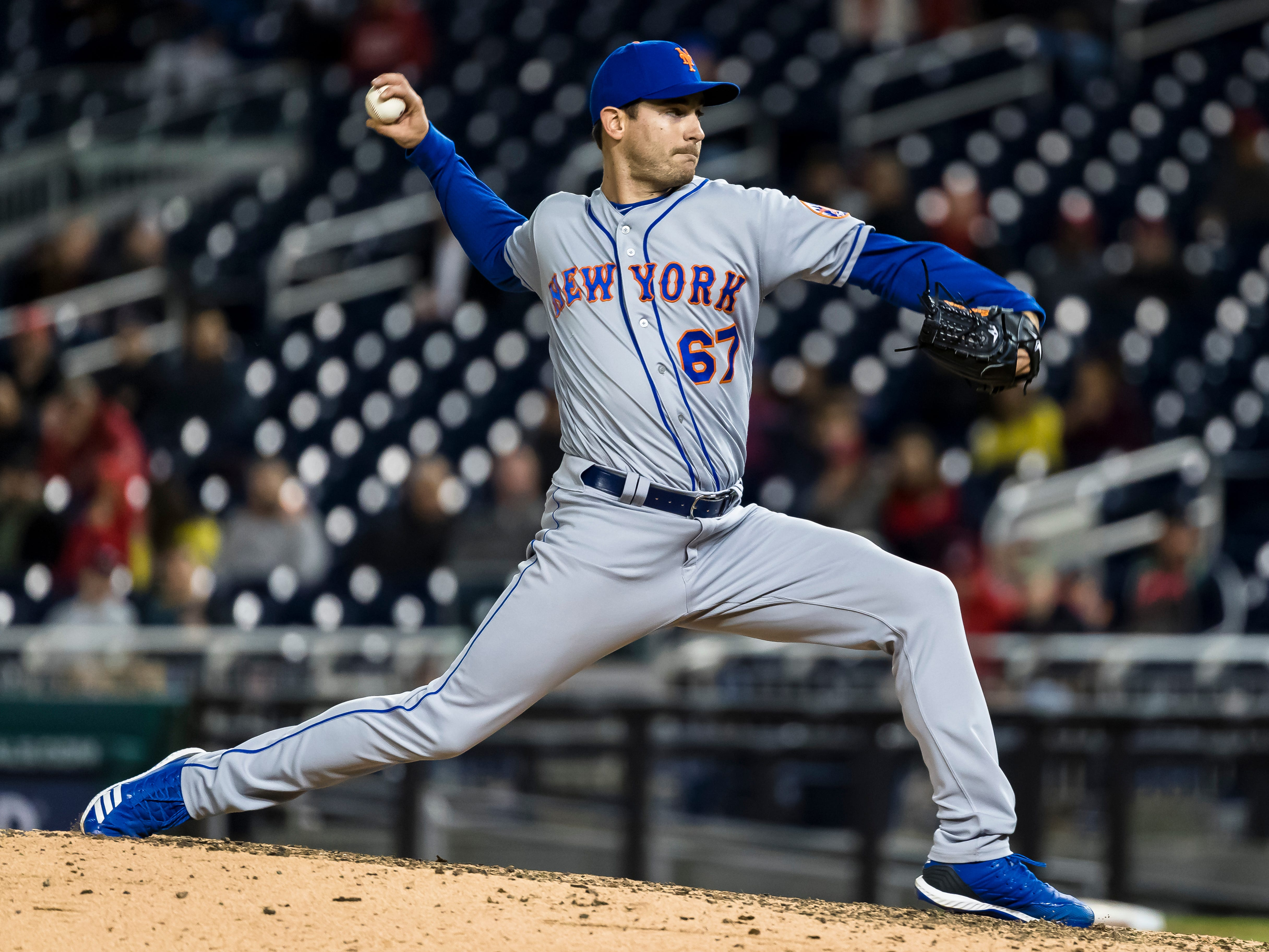 Seth Lugo of the New York Mets pitches against the Washington Nationals during the ninth inning at Nationals Park on May 14, 2019 in Washington, DC.