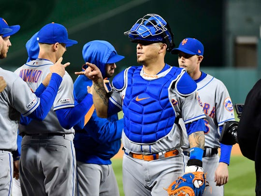 May 14, 2019; Washington, DC, USA; New York Mets catcher Wilson Ramos (40) celebrates with teammates after defeating the Washington Nationals at Nationals Park.