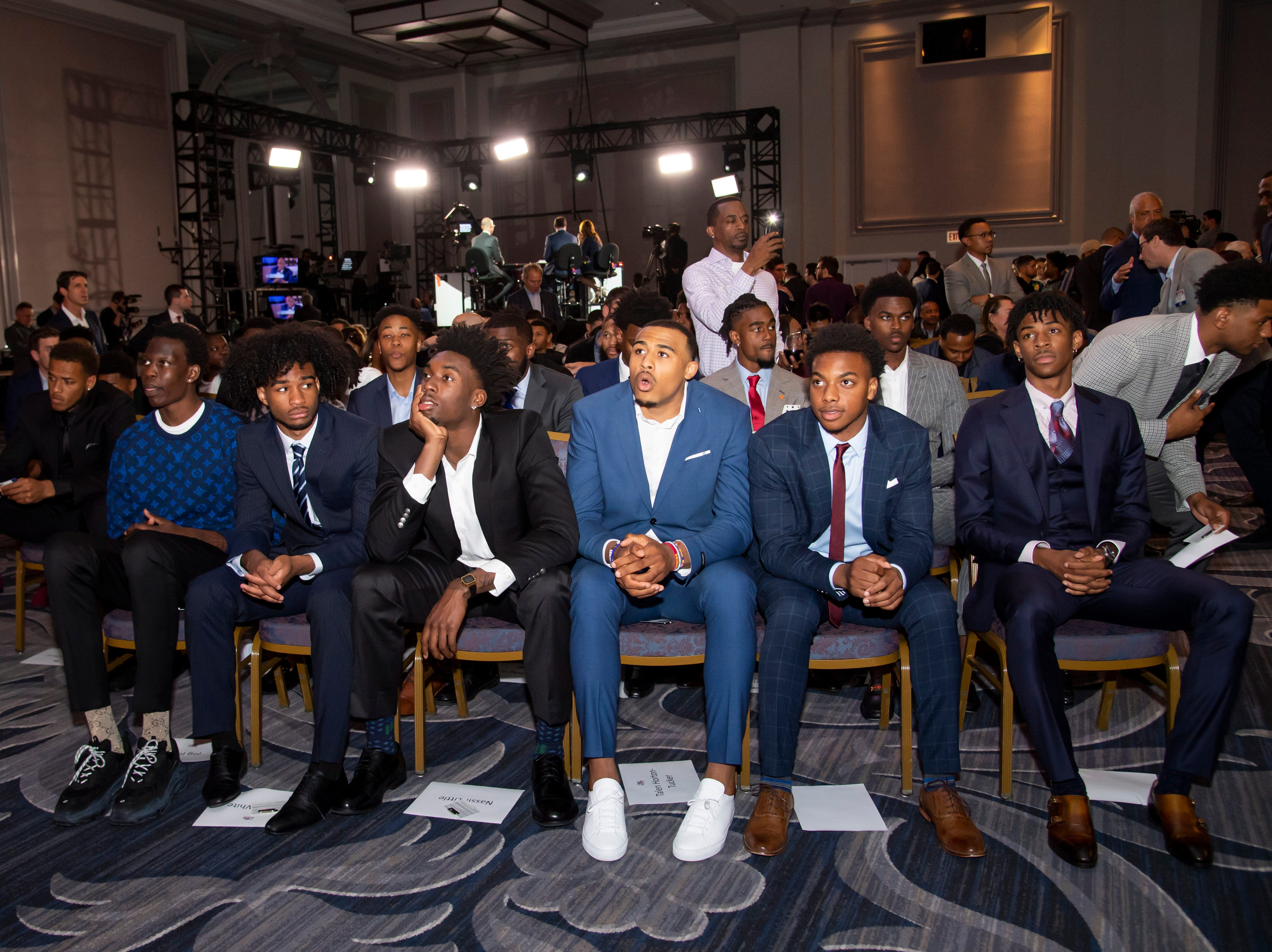 May 14, 2019; Chicago, IL, USA; NBA top prospects are seen during the 2019 NBA Draft Lottery at the Hilton Chicago. Mandatory Credit: Patrick Gorski-USA TODAY Sports