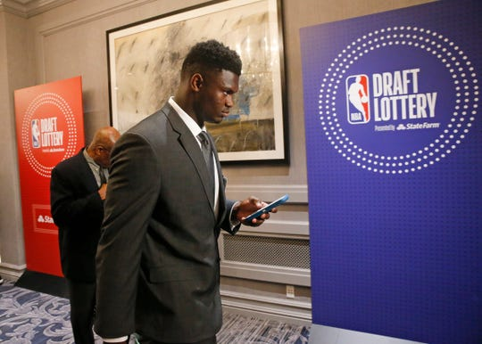 Duke's Zion Williamson arrives for the NBA basketball draft lottery Tuesday, May 14, 2019, in Chicago.
