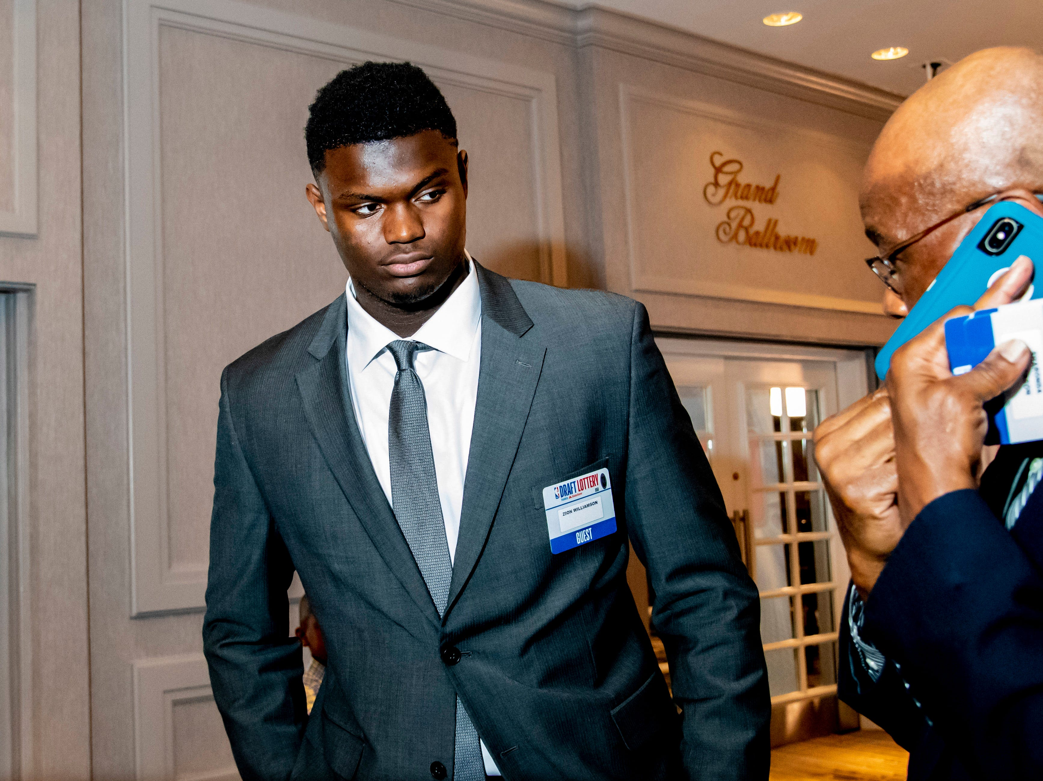 May 14, 2019; Chicago, IL, USA; Duke forward Zion Williamson is seen prior to the 2019 NBA Draft Lottery at the Hilton Chicago. Mandatory Credit: Patrick Gorski-USA TODAY Sports