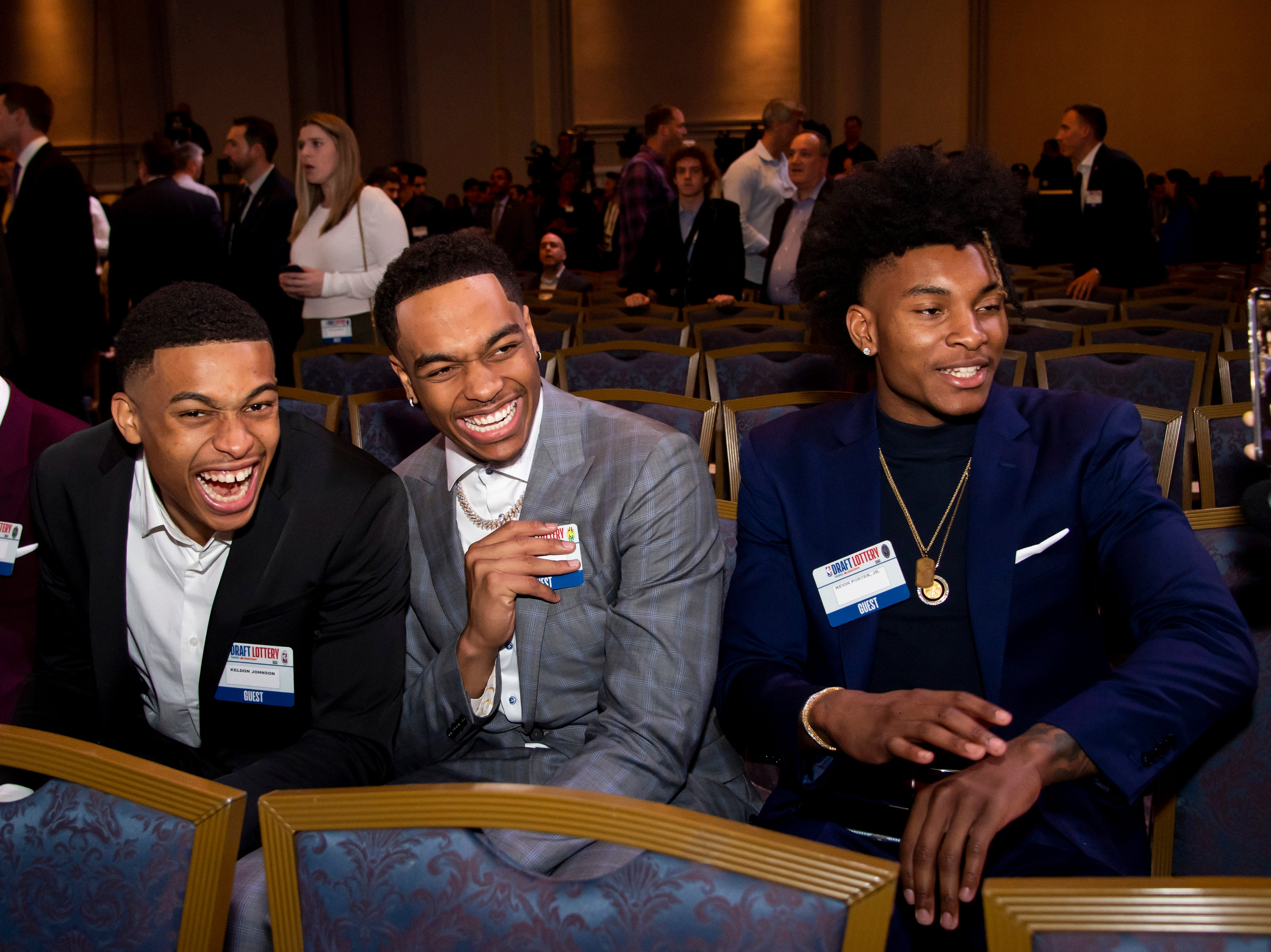 May 14, 2019; Chicago, IL, USA;  NBA top prospect Keldon Johnson (left) and PJ Washington (middle) and Kevin Porter Jr. are seen during the 2019 NBA Draft Lottery at the Hilton Chicago. Mandatory Credit: Patrick Gorski-USA TODAY Sports
