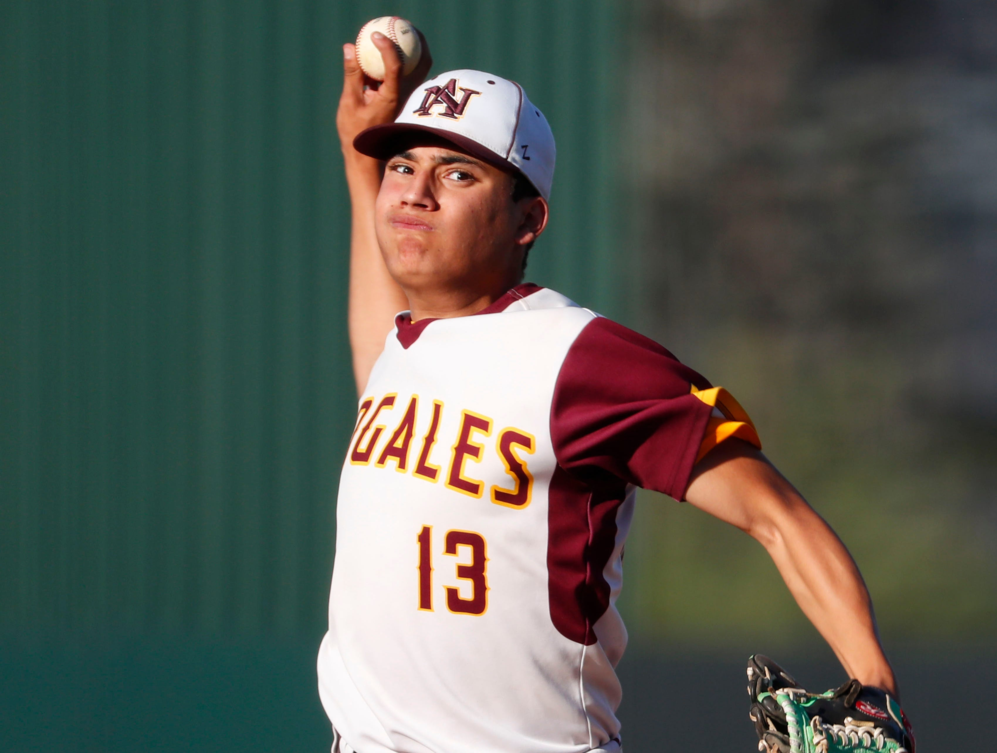 Nogales' Gerardo Martinez (13) throws against Horizon during the 5A State Baseball Championship in Tempe, Ariz. May 14, 2019.