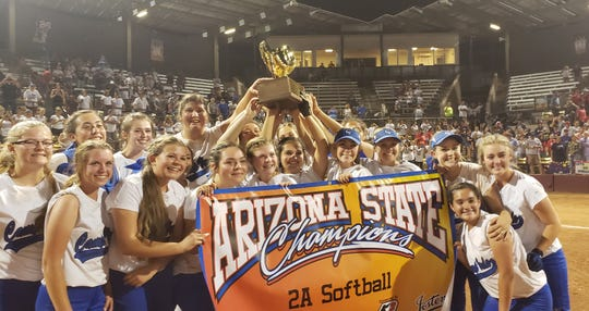 Camp Verde softball wins the 2A state championship 10-7 over Benson.