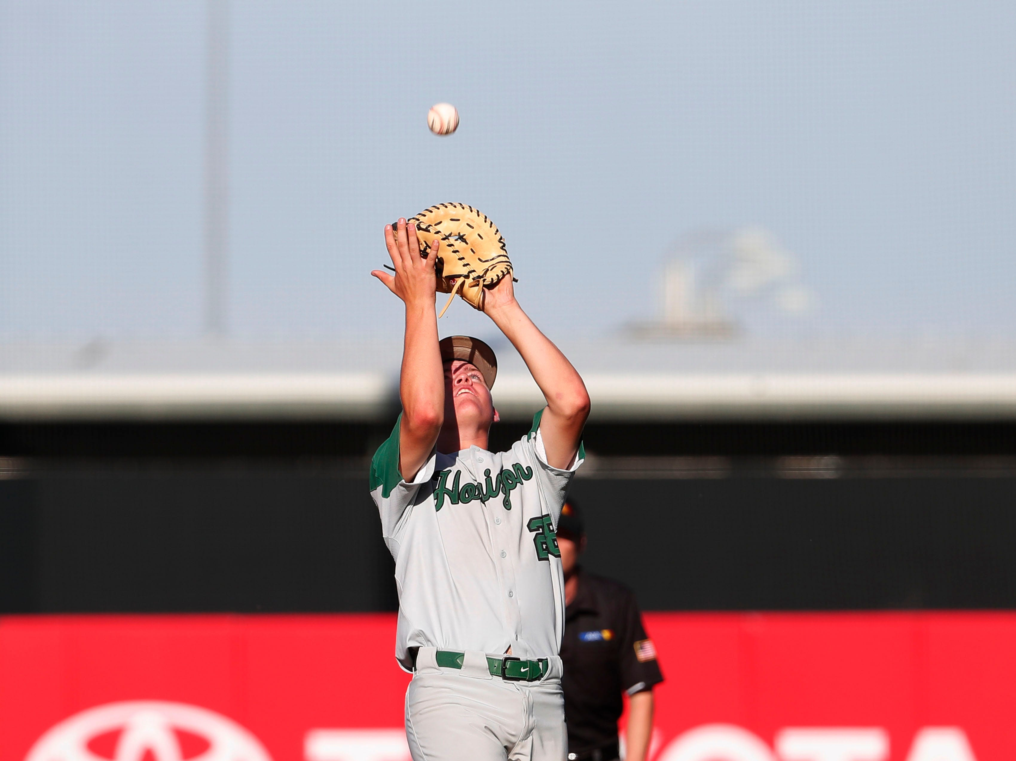 \h28 catches a pop-up during the 5A State Baseball Championship against Nogales in Tempe, Ariz. May 14, 2019.