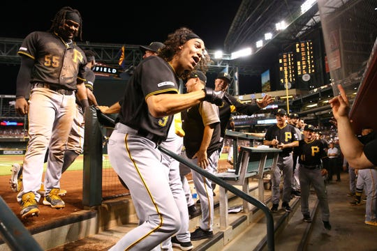 Pittsburgh Pirates Cole Tucker (3) celebrates after hitting a 2-run home run off Arizona Diamondbacks pitcher Zack Godley in the eighth inning on May. 14, 2019 at Chase Field in Phoenix, Ariz.