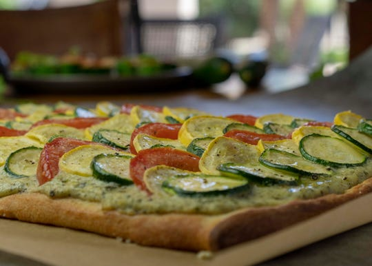 Robin Miller's Zucchini and Yellow Squash Flatbread with Pesto, one of the Easy Summer Squash Recipes.