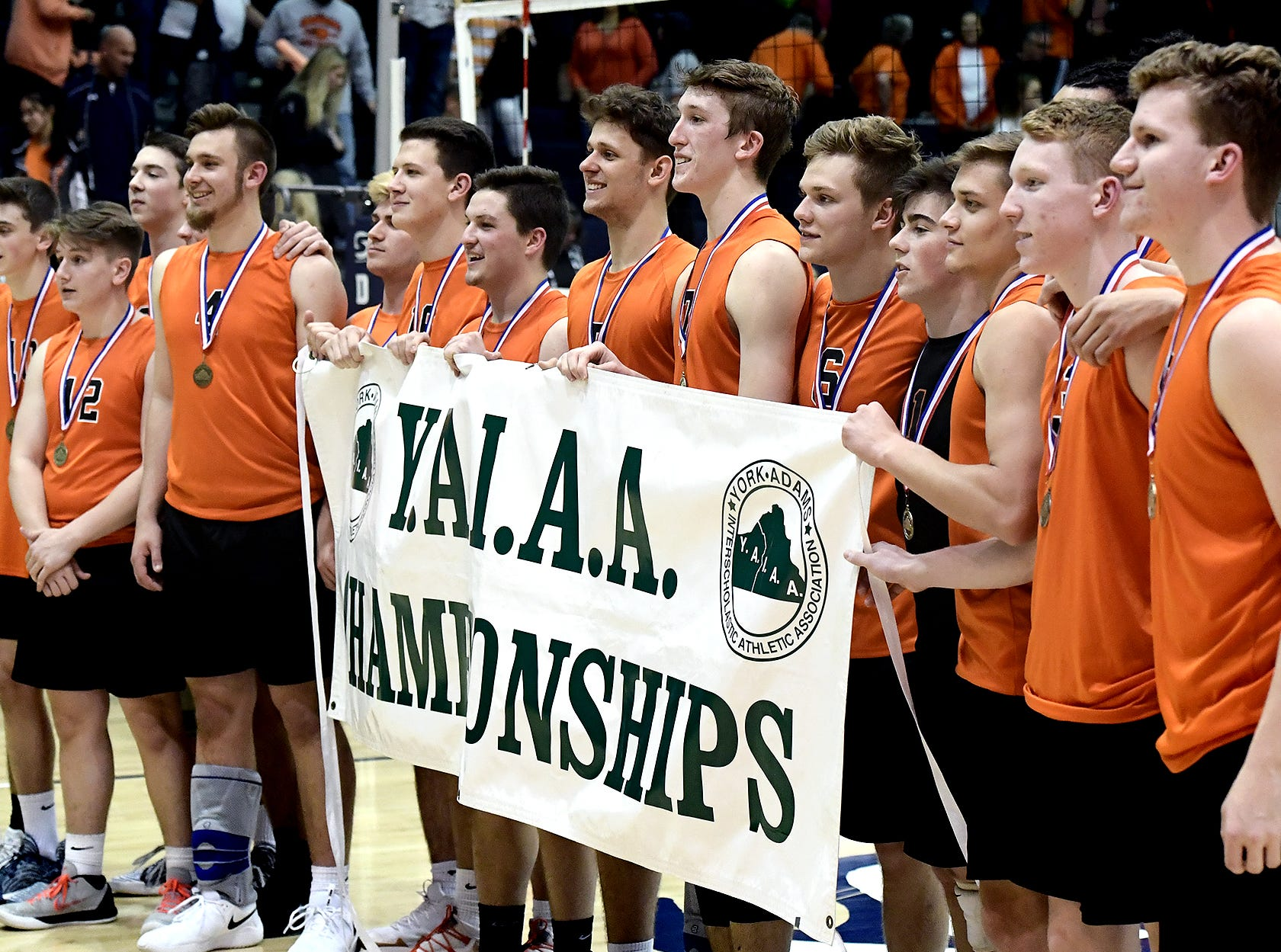 Northeastern tops Central York in five games during the York-Adams boys' volleyball championship match at Dallastown Tuesday, May 14, 2019. Bill Kalina photo