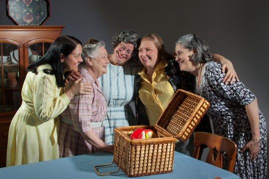 "Karla Baker, Deb Volker, Vicki Schneider, Liz Reed and Julie Muszynski rehearse a scene in TAFE's ""Little Old Ladies in Tennis Shoes."""