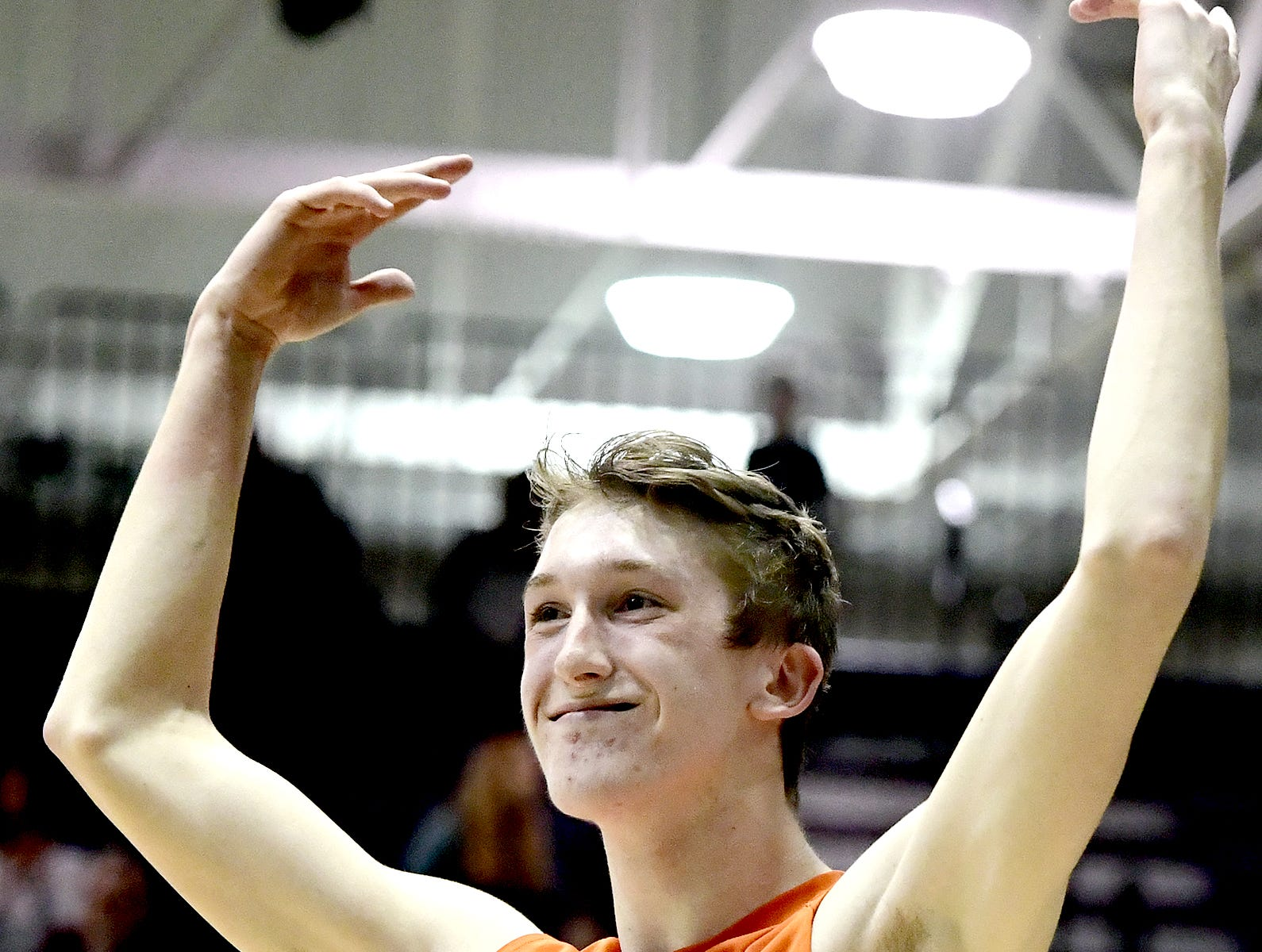 Northeastern's Alex Finch incites the crowd before game five in the York-Adams boys' volleyball championship match with Central York at Dallastown Tuesday, May 14, 2019. Bill Kalina photo