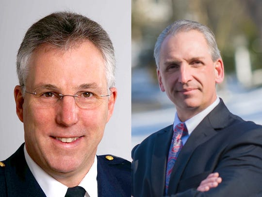 York County Sheriff Richard Keuerleber, left, and Shane Becker, a deputy sheriff in the Adams County Sheriff's Office, right, are set to face off in the Republican primary on May 21.