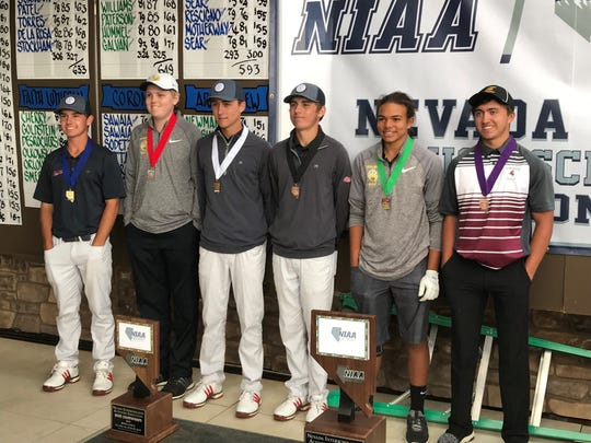 The top six finishers at 4A state golf on Tuesday. Medalist Michael Sarro is far left and runner-up Ian Gilligan is next to him.
